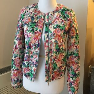 Zara Floral Cotton Quilted Bomber Jacket Size M